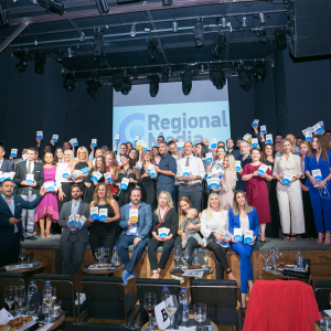 Photo with every participant of the Regional Media Awards.